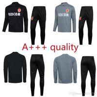 Wholesale Adult Sweater - new 2017 adult Monaco Club tracksuit black grey soccer training suit survetement 17 18 top quality sweater pants