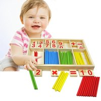 Wholesale Build Wooden - Free Shipping! Baby Toy Wooden Blocks Montessori Educational Toys Mathematical Intelligence Stick Building Blocks gift