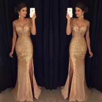 Wholesale Dresses Slits - 2017 Gold Shinny Prom Dresses Sexy V Neck Cap Sleeves Beaded Sequins Side Slit Prom Dresses Formal Party Dresses