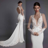 Wholesale Embroidered Tulle Wedding Dresses - elegant sexy opealongn low back sheath wedding dresses 2017 muse berta bridal strapless deep plunging sweetheart neckline embroidered bodice