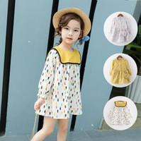 Wholesale Summer Cotton Lace Dresses - new arrivals girl kids dress little flowers Long Sleeve round collar 100% cotton dress charming elegant dress 3 colors