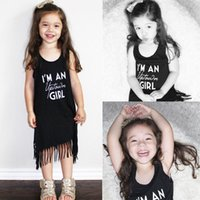 Wholesale Tshirt Princess Dress - I'm a uptown girl letter printed tshirt girls Toddler Kids Baby Girl Princess Clothes Sleeveless Tassel Tops T-Shirts casual wedding Dress