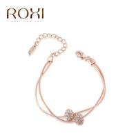 roxi armband großhandel-ROXI Marke Charm Armbänder Armreifen Rose Gold Farbe Frauen Elegante Mode Kristall Perlen Hochzeit Schmuck für Muttertag