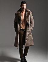 ingrosso cappotto di trincea di pelliccia del faux del mens-Nero nero grigio caldo casuale lati indossare lungo faux fur coat in pelle mens cappotti del rivestimento degli uomini di trincea Villus tuta sportiva di inverno termico 65.656.666 +++