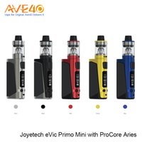 Wholesale Evic Black - 100%Original Joyetech eVic Primo Mini kit 80W with ProCore Aries Atomizer Top Flip-and-fill System 2.0A Quick Charge Decent Cloudage