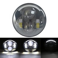 Wholesale Motorcycle Projector Kit - 5.75'' Harley LED Headlight Kit 5 3 4'' 40W LED Headlamp Driving light with Angel eyes for motorcycle projector