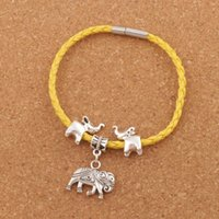 "Wholesale Wholesale Woven Wraps - Elephant Leather Wrap Woven European Charm Bracelet 20pcs lot Silver Plated Clip Clasp Wristband Christmas Bangle 8"" BB55"