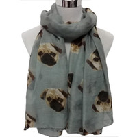Atacado-Best-seller Lady Womens Long Cute Pug Dog Print Scarf Wraps Shawl Soft Scarves Jan5