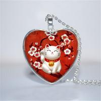 rote glasherzen großhandel-10 teile / los Red Maneki Neko Anhänger, Maneki Neko Halskette, Glückliche Katze herz Halskette Glas Foto Cabochon Halskette