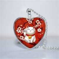 Wholesale Silver Plated Cabochon - 10pcs lot Red Maneki Neko Pendant, Maneki Neko Necklace, Lucky Cat heart Necklace Glass Photo Cabochon Necklace