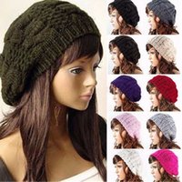 Wholesale Wholesale Cotton Beret Hats - New Fashion Women's Girl's Warm Knitted Hats Caps Baggy Beret Chunky Cotton Wool Braided Beanie Free Shipping