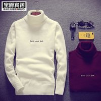 Wholesale Crochet Unique Fashion - Wholesale- High Collar England Style Letter Printed Korean Men Kintted Sweaters Luxury Brand Casual Unique Personality Men Sweaters