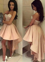 Wholesale Salmon Dresses - Fresh Pink Salmon High Low Homecoming Dresses 2017 Sweetheart Lace Short Front Long Back Prom Dress Ball Gown Graduation Party Dress