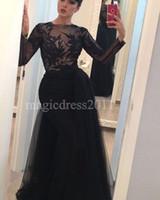 siyah süslenmiş elbiseler toptan satış-Seksi Siyah Balo Abiye Uzun Kollu ile 2016 Mermaid Jewel Ağır Süslenmiş Illusion Korse Uzun Örgün Parti Törenlerinde Arapça