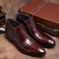 Wholesale Mens Wedding Boots - Wholesale-Crocodile Grain brown tan  black mens ankle boots embossed genuine leather dress boots autumn mens wedding shoes