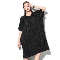 Wholesale Dresses Loose Beads - 2017 Spring Summer Fashion New Black O Neck Loose Batwing Sleeve Rivet Nail Bead Dress Woman T64301
