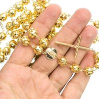 Wholesale Solid Gold Rosaries - Solid 14K Yellow Gold Men 9.8 mm Rosary Link 36 in Chain Authentic 60.89 gram