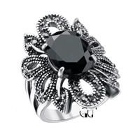 ingrosso pietre dell'anello della resina dei monili-Anello retrò argento antico 925 placcato pietra nera resina cristalli Hollow fiore stile anelli gioielli per le donne prezzo a buon mercato