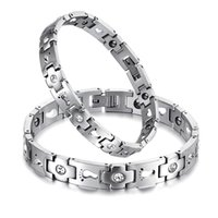 Hot Pair Bracelets 316L Stainless Steel Energy Magnetic Stone Chain Cuff Bracelets Alta qualidade AAA Cubic Zirconia Bangles Presentes Jóias