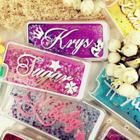 Wholesale Roses Names - For iphone 5 5s se 6 6s 7 8 plus X Korea Awesome Exclusive Personalize Customize Name Star liquid Glitter sparkle case