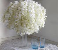 ingrosso fiori di tabella nozze bianca-Fai da te Artificiale Bianco Glicine Fiore di seta per la casa Festa nuziale Giardino Decorazione floreale Soggiorno San Valentino Centrotavola Decorazioni da tavola