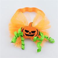 Wholesale Pumpkin Headbands - Wholesale 20pcs Halloween Fashion Cute Glitter Bowknot Soft Hairbands Solid Kawaii Felt Pumpkin Girls Elastic Headbands Party Headware