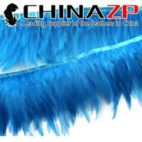Wholesale Gold Plumage Supplier CHINAZP Crafts Factory Price for per Yard Dyed Blue DIY Decoration Rooster Neck Hackle Feather Trim