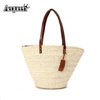 Wholesale Handmade Bags Summer Fashion - Wholesale-Summer Beach Women Handbags Lady Straw Shoulder Bags Brand Design Beige Shooping Bag Vintage Tassel Handmade Woven Bolsa Tote