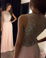 Wholesale Transparent Crystal Beading - Crystal A Line Evening Dresses 2017 New Coming Formal Gowns Transparent Chiffon Custom Made Sweep Train Dazzling Modern Fashion