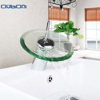 Venda por atacado - RU New Arrival Waterfall Faucets Bathroom Basin Mixer Torneiras de banheiro Single Handle Faucet Glass Waterfall Tap