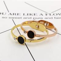Wholesale Color Charm Bracelets - Luxury Jewelry Zircon Love Bracelets For Women 316L Stainless Steel Gold Color Crystal Brand Lover Charm Bracelets & Bangles