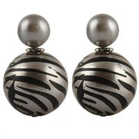 Wholesale Show Trade - Elegant Leopard Zebra Stripe Printing Double Side Pearl Ear Stud Earrings Nightclub Singer Jewelry Trade Show E1569 E1574