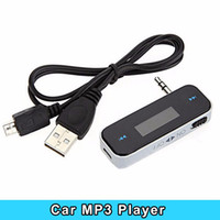 Wholesale Wireless Mini Audio Transmitter - Wholesale- Mini Wireless LCD 3.5mm In-Car Handsfree Car Kit Music Audio FM Transmitter USB For iPhone Electronic Car MP3 Player