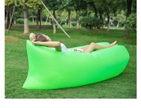 Wholesale Wholesale Terylene Fabric - Fast Inflatable Air Sleeping Bag Hangout Lounger Air Camping Sofa Portable Beach Nylon Fabric Sleep Bed with Pocket and Anchor HHAK