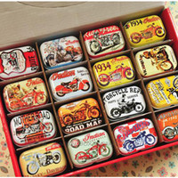 Wholesale Mini Rectangle Boxes - American Style Mini Diy Tin Box Vintage Handmade Small Metal Tins Storage Box Organizer Pill Tea Coin Case Container 32pcs lot