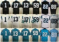 Wholesale Newton White - Cheap 22 McCaffrey 1 Newton 13 Benjamin 59 Kuechly 88 Olsen 17 Funchess Black Teal Green White Embroidered Men Women Youth Kids Mix Order