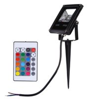 Wholesale Outdoor Rgb Controller - Wholesale-1pcs RGB Led Floodlight IP65 Outdoor Spotlights With Remote Controller Garden Lamp Lightings10w Ac 85-265v