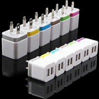 Wholesale painted rings - Metal & paint Ring Dual usb ports US EU 5V 2.1A AC home wall charger travel power adapter for Samsung s6 s7 edge android phone mp3