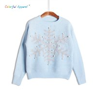 Wholesale Womens Christmas Knit Sweaters - Wholesale-Colorful Apparel 2016 Autumn Snow Sequin Pearl Beaded Christmas women's Sweaters Pullovers Knitting Sweaters womens Tops CA484