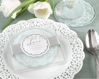Wholesale Wedding Favors Glass Coasters - Lace Exquisite Frosted Glass Coasters Set of 2 wedding favors and gifts 100Set Lot= 200PCS Free shipping Total