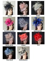 Wholesale Fascinator Dress - 11 colours.Big Dress Wedding party Fashion sinamay fascinator hat with feathers and veiling,6 colors