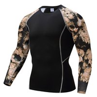 Wholesale Mma Skin - Cycling wear Mens Compression Shirts Bodybuilding Skin Tight Long Sleeves Jerseys Clothings MMA Crossfit Exercise Workout Fitness Sportswear