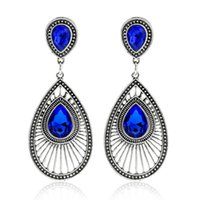 Wholesale Gold Blue Gem Earring - Water Drop Gem Dangle Earrings Blue Alloy Ancient Silver Fashion Jewelry Vintage Ethnic Joker Geometry Gold Color Hollow Stud Earrings Women