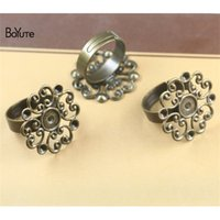 Wholesale Antique Ring Base - BoYuTe 20Pcs 23MM Flower Filigree Ring Base Settings Vintage Style Antique Bronze Plated Diy Jewelry Accessories Parts