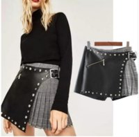 Wholesale Leather Splice Skirts - Spring New Plaid Splicing Pleated Metal Rivets Decoration Leather Skirts Sexy Show Thin Skirts Pants