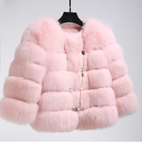 Wholesale Women Ladies Winter Coats - Winter Fox Fur Coat Jacket Petite Ladies Fur Peacoat Outwear Round Neck Long Sleeve Parka Coats Short Trench Coats Warm Outwear CJE1006
