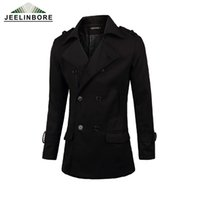 Wholesale Duffle Trench - Wholesale- Mens Overcoat Winter Mens Warm Slim Fit Coats Duffle Coat Stylish British Style Double Breasted Wool Trench Coat Plus Size 3XL