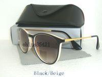 Wholesale mens sunglasses blue lenses - 1Pcs High Quality Mens Womens Erika Sunglasses Eyewear Black Beige Frame 52MM Lens With Black Case