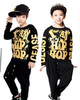 Wholesale Dance Costume Child Hip Hop - Black Boys Girls Hip Hop Dance Wear For Kids With Gold Print Cotton Brand Top Pant 2 Pieces Children Stage Costumes Plus Size