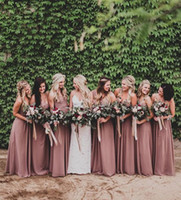 Wholesale dusty rose dresses - Dusty Rose Pink Bridesmaid Dresses Sweetheart Ruched Chiffon A-line Long Maid of Honor Dresses Wedding Party Gown Plus Size Beach